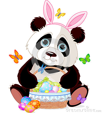 Free Cute Panda With Easter Basket Royalty Free Stock Image - 39574296