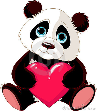 Free Cute Panda With Heart Stock Photos - 22494423