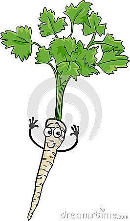 Cute parsley root vegetable cartoon illustration