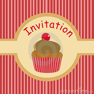 Cute party invitation for kids with cupcake