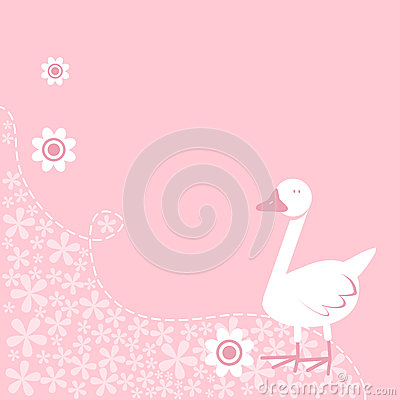 Cute Goose on Floral Background