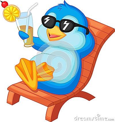 Cute Penguin Cartoon Sitting On Beach Chair Stock Images