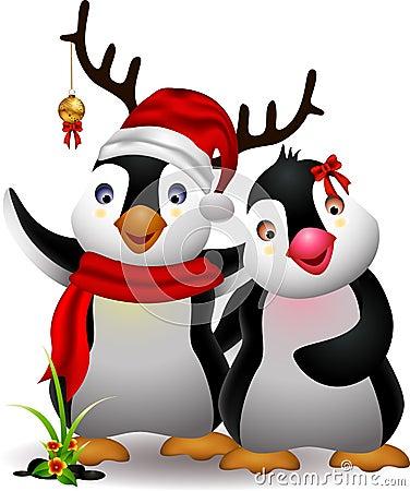 Cute penguin christmas cartoon couple with love