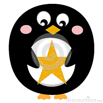 Cute penguin with christmas star