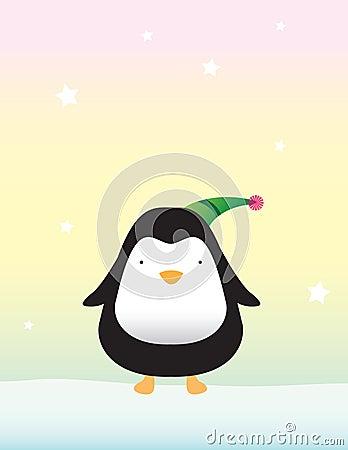 Cute Penguin on Snow