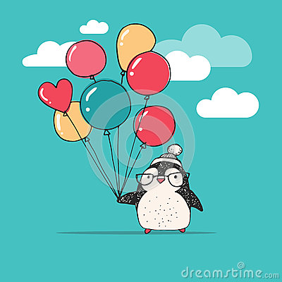 Free Cute Penguin With Balloons - Merry Christmas Royalty Free Stock Photography - 61117117