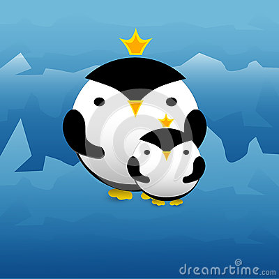 Cute penguins with crowns