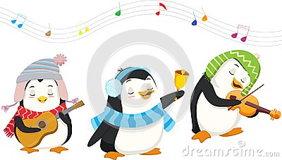 Cute penguins playing christmas musical instruments Vector Illustration