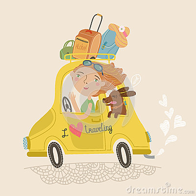Free Cute Picture Of A Girl And A Dog Traveling Stock Images - 52391044