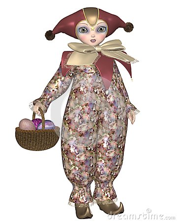 Pierrot Clown Doll with Easter Eggs
