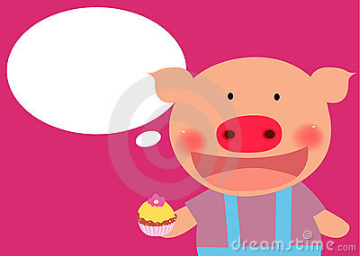 Cute pig with cake