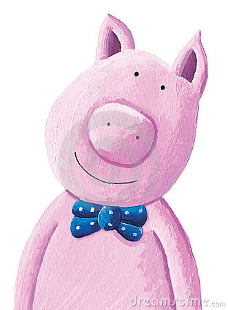 Cute pig wearing a bow tie