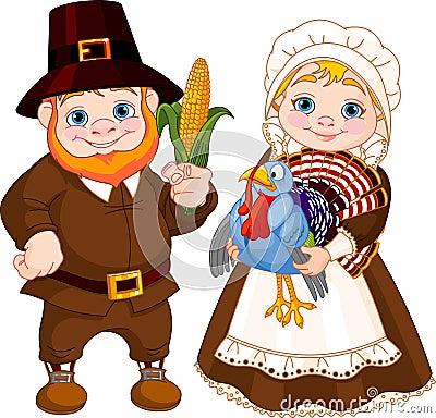 Cute Pilgrims Couple