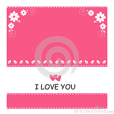 Cute of pink background and white flower with love