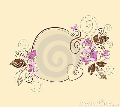 Cute pink and brown floral frame