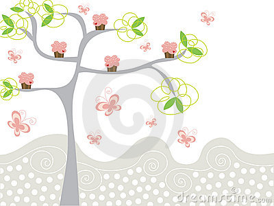 Cute pink cupcakes on a tree