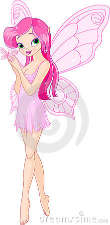 Free Cute Pink  Fairy With Butterfly Royalty Free Stock Photography - 15960167