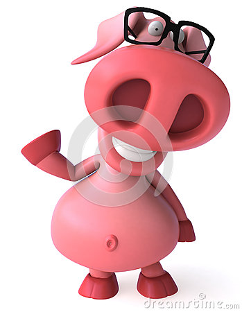 Pig and glasses