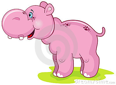 Cute pink hippo