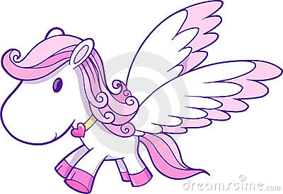 Cute Pink Pegasus Vector