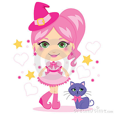Cute Pink Witch