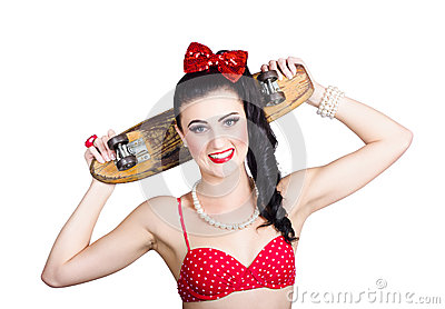 Cute pinup skater girl in punk glam fashion