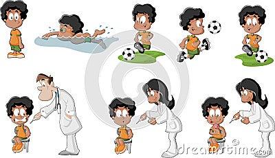 Cute playful cartoon black boy
