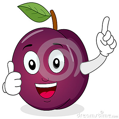 Cute Plum Character with Thumbs Up