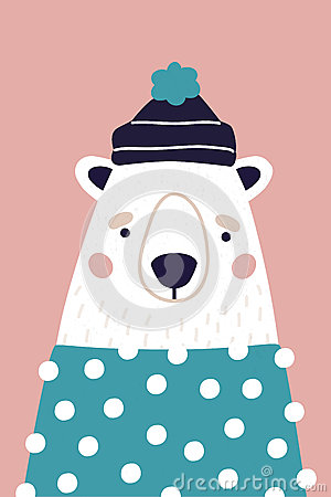 Cute polar bear in hat and sweater on pink background. Vertical greeting card. Colorful illustration for postcard in Vector Illustration