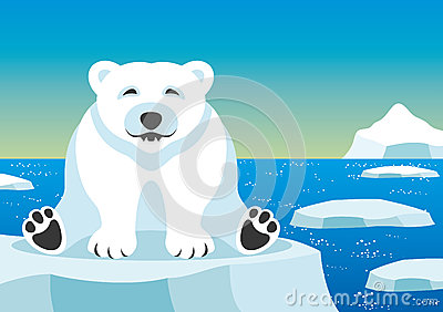 Cute polar bear. Vector Illustration
