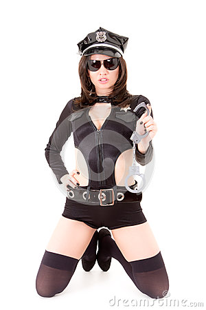 Cute Police Woman Posing On A White Background Stock Photos - Image: 26851543