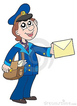 Free Cute Postman With Letter Royalty Free Stock Photos - 5881418