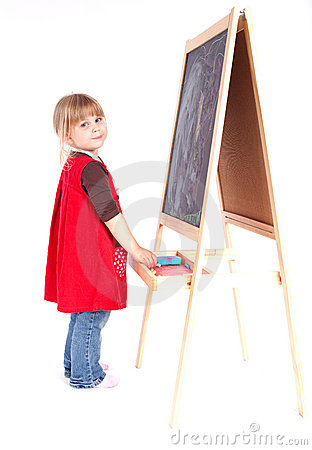 Cute preschool girl with blackboard