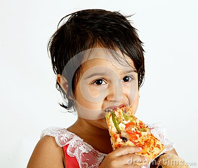 Cute and pretty toddler eating pizza slice