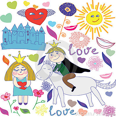 Cute princess & prince doodle set
