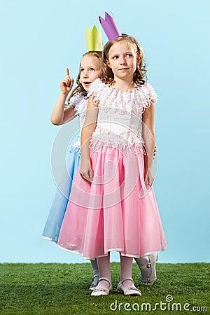 Cute princesses on promenade
