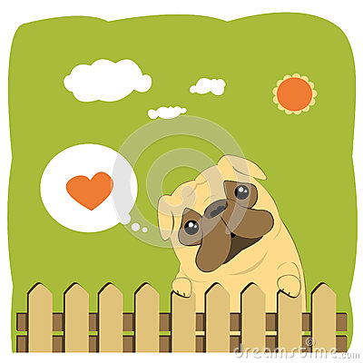 Cute Pug dog cartoon illustration