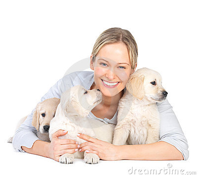 Cute puppies and young hot female model