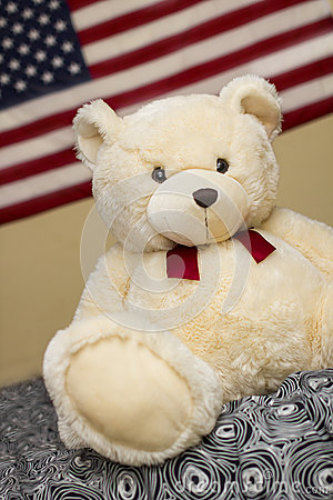 Cute Puppy Bear with USA flag