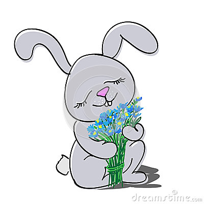 Cute rabbit with bouquet of flowers.