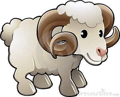 Cute Ram Sheep Farm Animal Vector