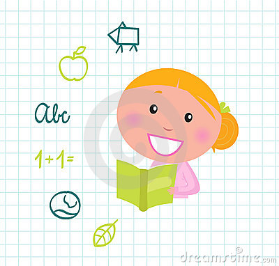 Cute reading blond Girl reading Book, School icons
