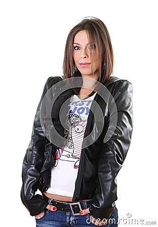Cute rebel girl in leather jacket