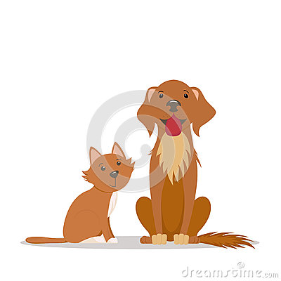 Free Cute Red Cat, Big Friendly Brown Dog Sitting Straight Stock Photography - 92474462