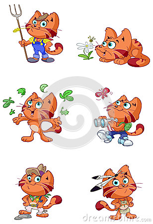 Cute red cat nature vector set