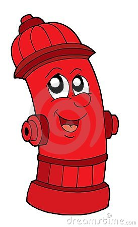 Cute red fire hydrant