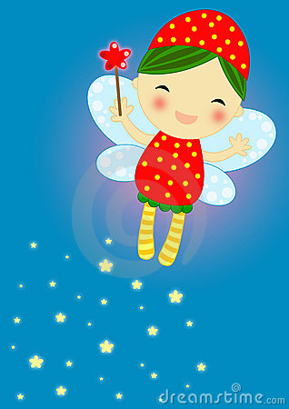 Cute red firefly fairy