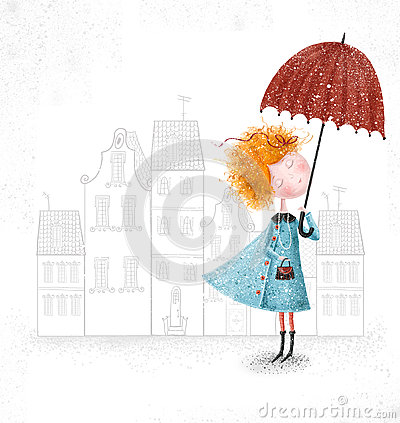 Cute red-head girl with umbrella in blue coat on city background.