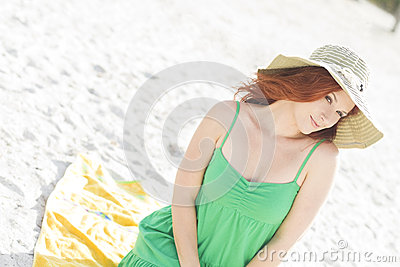 Cute redhead at the beach