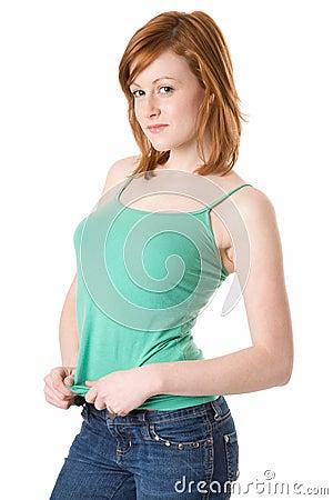 Cute Redhead in green tank top
